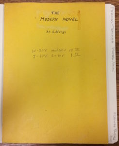 "Cover of Eddings' course lecture notes for ""The Modern Novel"""