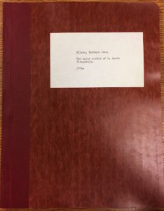 "Barbara Wilson's (Eddings' fiancée's) BA thesis, ""The Major Novels of F. Scott Fitzgerald"" (1954)"